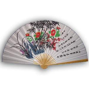 35-in Hanging Fan - Flower & Calligraphy (White)