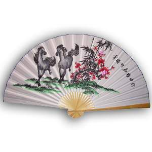 35-in Hanging Fan - Two Horses & Flower (Running)