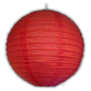 Rice Paper Lantern - Round, 6in, Red