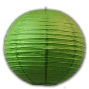Rice Paper Lantern - Round, 10in, Green