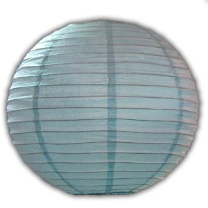Rice Paper Lantern - Round, 14in, Blue