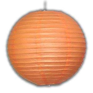 Rice Paper Lantern - Round, 14in, Orange
