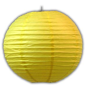 Rice Paper Lantern - Round, 14in, Yellow