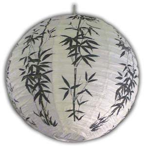 Rice Paper Lantern - Round, 16in, Black Bamboos