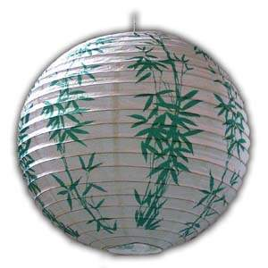 Rice Paper Lantern - Round, 16in, Green Bamboos