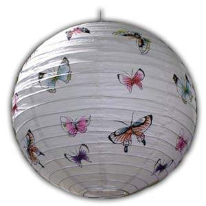 Rice Paper Lantern - Round, 16in, Butterfly
