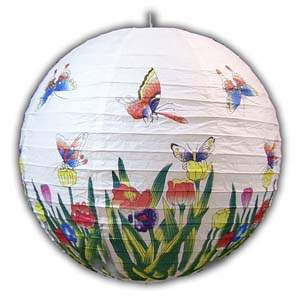 Rice Paper Lantern - Round, 16in, Butterfly & Tulips