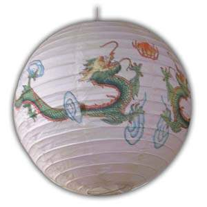 Rice Paper Lantern - Round, 16in, Dragon