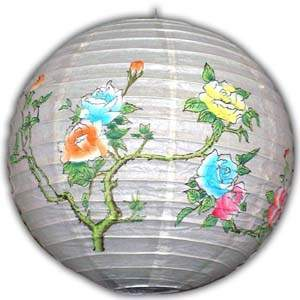 Rice Paper Lantern - Round, 16in, Flower