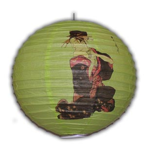 Rice Paper Lantern - Round, 16in, Green, Geisha