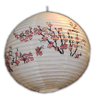 Rice Paper Lantern - Round, 16in, Red Small Flowers