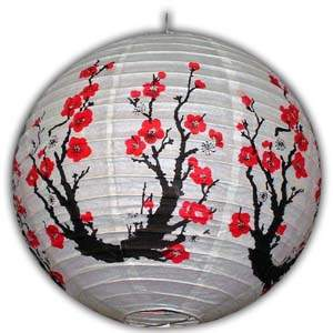 Rice Paper Lantern - Round, 16in, Red Flowers