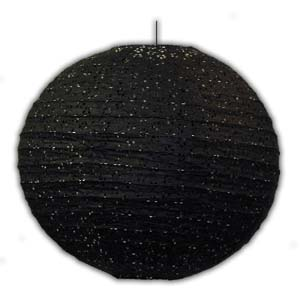 Rice Paper Lantern - Round, 16in, With Holes, Black