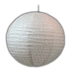 Rice Paper Lantern - Round, 16in, With Holes, White