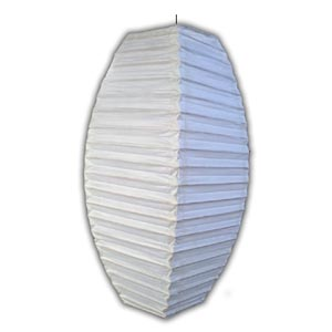 Rice Paper Lantern - Oval, Small, White