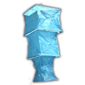 Rice Paper Lantern - Three Levels, Square, Blue