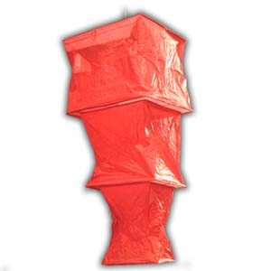 Rice Paper Lantern - Three Levels, Square, Red