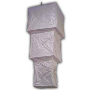 Rice Paper Lantern - Three Levels, Square, White