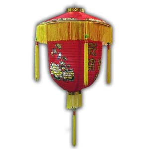 Oriental Chinese Lantern - 18in, Red, with Design