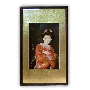 Oriental Japanese Geisha Picture - Small, Gold