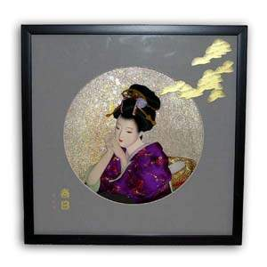 Oriental Japanese Geisha Picture - Black Frame, Purple