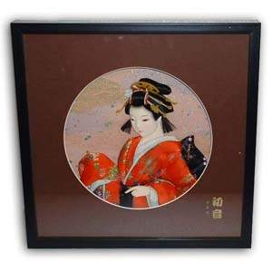 Oriental Japanese Geisha Picture - Black Frame, Orange