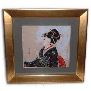 Oriental Japanese Geisha Picture - Beige with Hand Up
