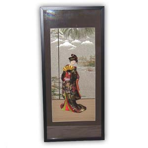Oriental Japanese Geisha Picture - Black Frame, Long, #305
