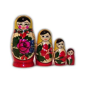 Russian Matreshka Nesting Doll - Traditional Smyonov Rosi, Set of 4