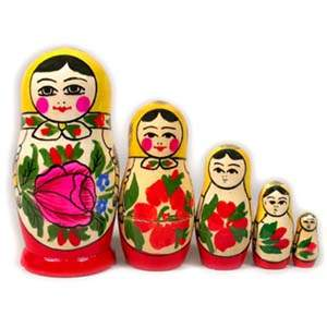 Russian Matreshka Nesting Doll - Traditional Smyonov Rosi, Set of 5