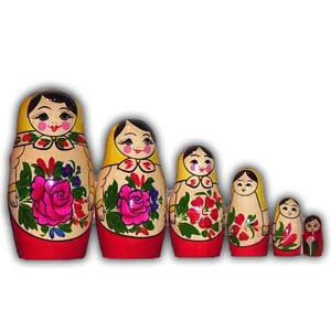 Russian Matreshka Nesting Doll - Traditional Smyonov Rosi, Set of 6