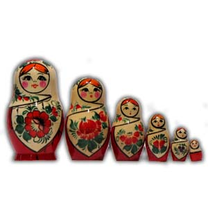 Russian Matreshka Nesting Doll - Vyatka, Set of 6