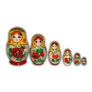 Russian Matreshka Nesting Doll - Rossiyanka, Set of 6