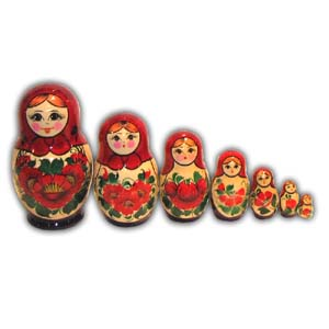 Russian Matreshka Nesting Doll - Souvenir, Set of 7