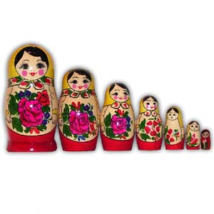 Russian Matreshka Nesting Doll - Traditional Smyonov Rosi, Set of 7
