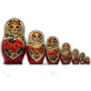 Russian Matreshka Nesting Doll - Vyatka, Set of 7