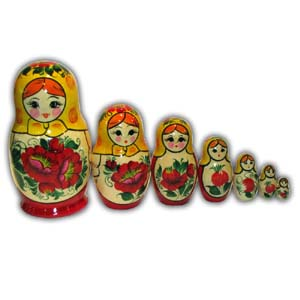 Russian Matreshka Nesting Doll - Rossiyanka, Set of 7