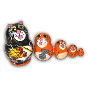 Russian Matreshka Nesting Doll, Mini Cat, Set of 5, Black