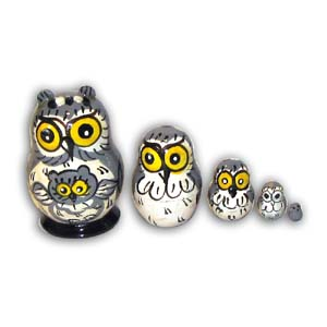 Russian Matreshka Nesting Doll, Mini Owl, Set of 5, Grey