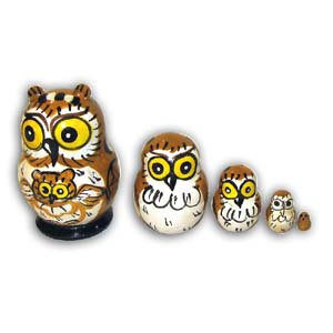 Russian Matreshka Nesting Doll, Mini Owl, Set of 5, Brown