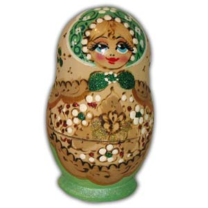 Russian Matreshka Nesting Doll, Set of 5, Green