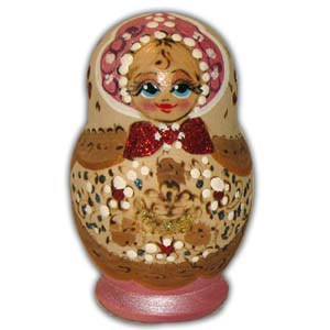 Russian Matreshka Nesting Doll, Set of 5, Pink