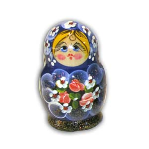Russian Matreshka Nesting Doll, Set of 5, Blue