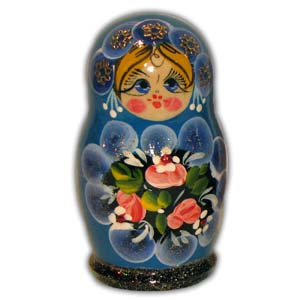 Russian Matreshka Nesting Doll, Set of 5, Light Blue