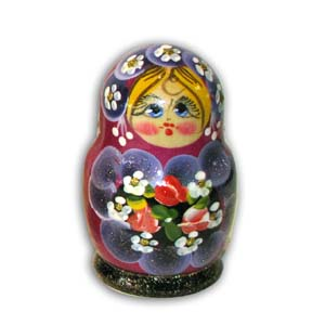 Russian Matreshka Nesting Doll, Set of 5, Purple