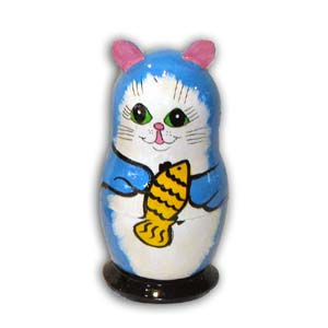 Russian Matreshka Nesting Doll, Cat, Set of 5, Blue