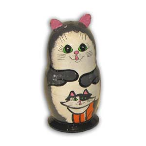 Russian Matreshka Nesting Doll, Cat, Set of 5, Grey