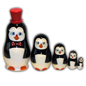 Russian Matreshka Nesting Doll, Penguin, Set of 5