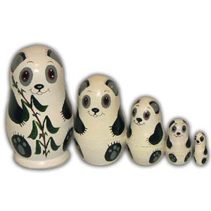 Russian Matreshka Nesting Doll, Panda, Set of 5