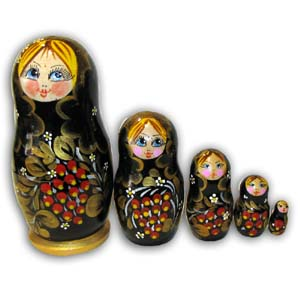 Russian Matreshka Nesting Doll, Set of 5, Black